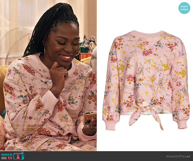 Cinq a Sept Parker Sakura Floral Tie-Front Pullover worn by Harper (Laci Mosley) on iCarly