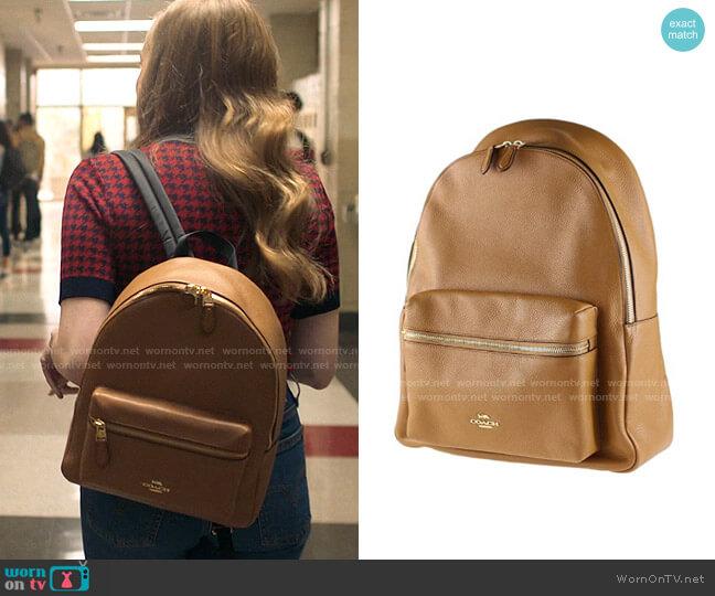Coach Charlie Backpack worn by Lake Meriwether (Bebe Wood) on Love Victor