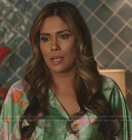 Cristal's green floral v-neck dress on Dynasy