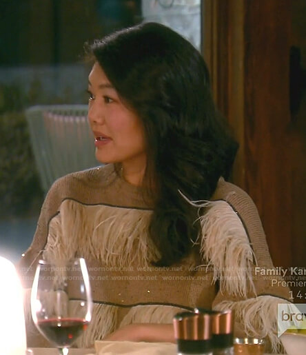 Crystal's beige feather sweater on The Real Housewives of Beverly Hills