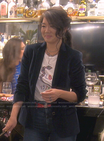 Erika's red printed tie neck blouse and skirt on The Real Housewives of Beverly Hills