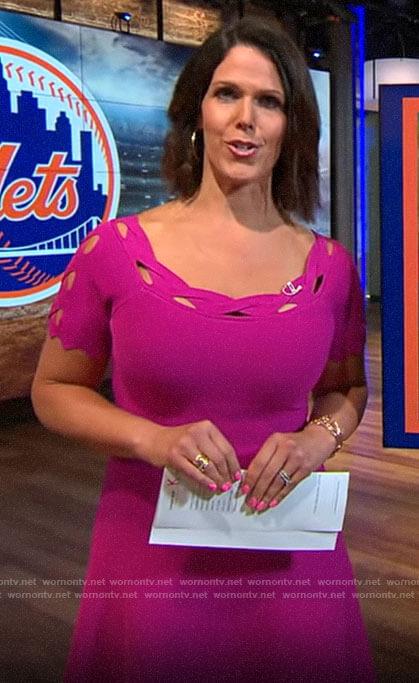 Dana Jacobson's pink cutout trim dress on CBS This Morning