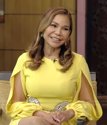 Daphne Rubin-Vega's yellow split-sleeve dress on Live with Kelly and Ryan