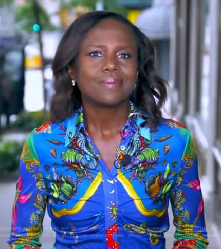 Deborah's blue print shirtdress on Good Morning America