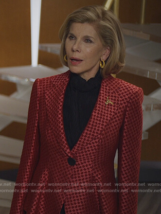 Dianne's red printed jacquard blazer on The Good Fight