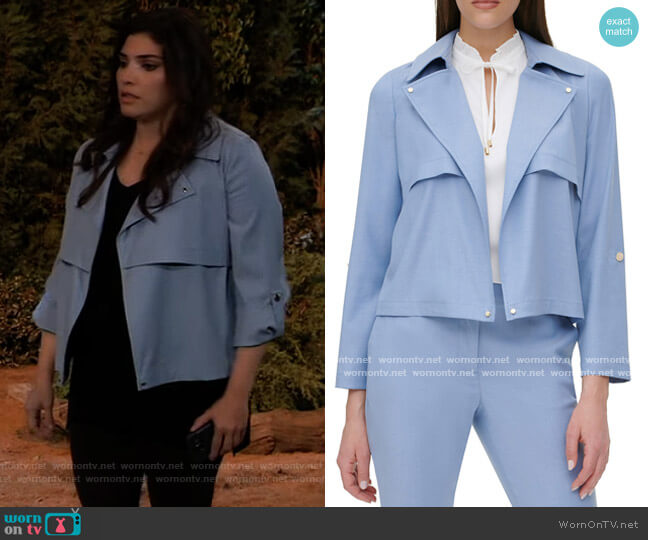 Open-Front Jacket by DKNY worn by Brook Lynn Quartermaine (Amanda Setton) on General Hospital