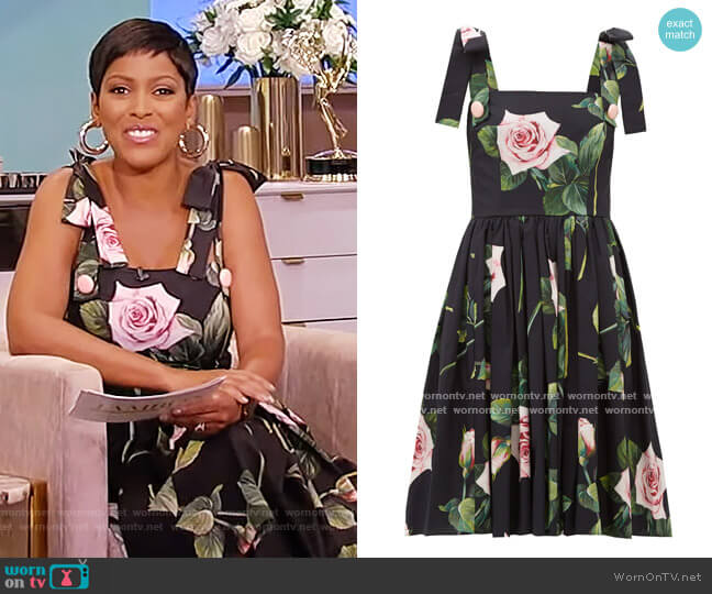 Tropical Rose-print cotton-poplin dress by Dolce & Gabbana worn by Tamron Hall  on Tamron Hall Show