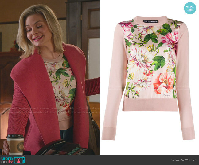 Floral Print Panel Jumper by Dolce & Gabbana worn by Stephanie Borden (Kylee Evans) on Good Witch