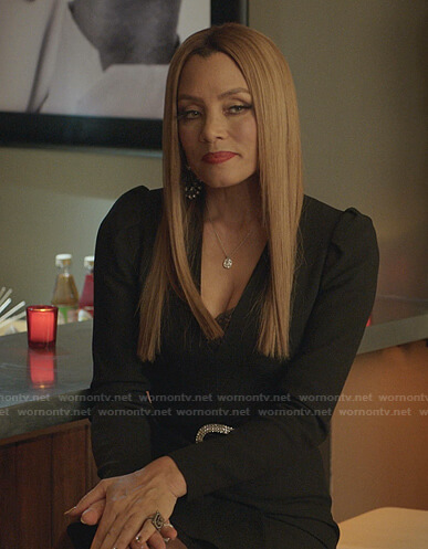 Dominique's black v-neck dress on Dynasty