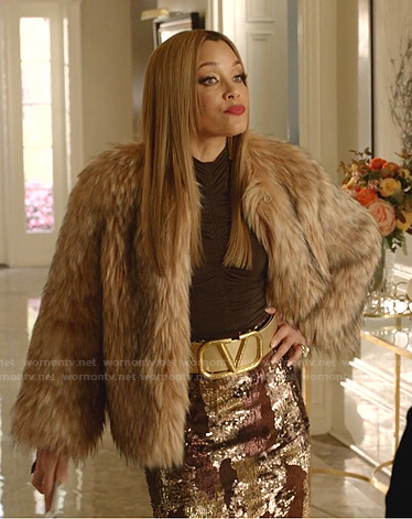 Dominique's brown ruched top and sequin skirt on Dynasty