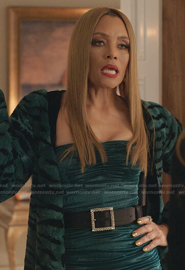 Dominique's green ruched dress on Dynasty