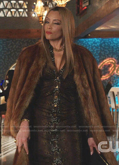 Dominique's brown snake print ruched shirtdress on Dynasty