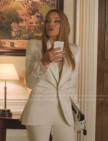 Dominique's white satin blazer on Dynasty
