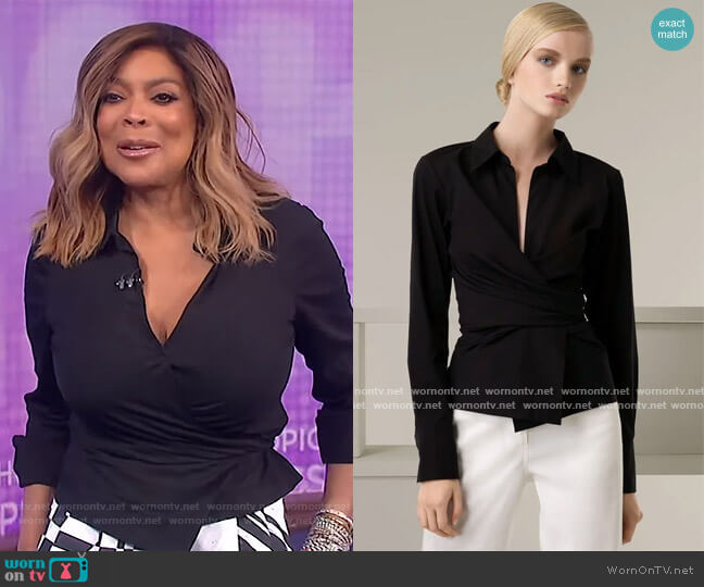 Stretch Wrap Shirt by Donna Karen worn by Wendy Williams  on The Wendy Williams Show