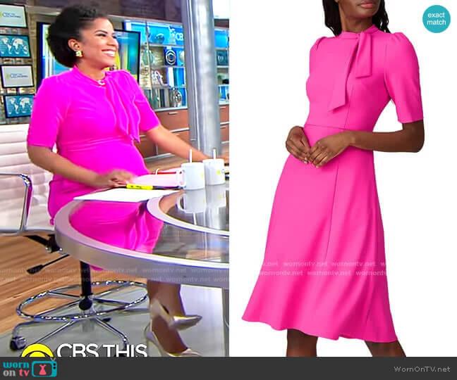 Donna Morgan Tie Neck Dress worn by Adriana Diaz  on CBS Mornings