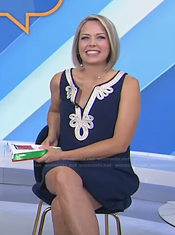 Dylan's navy embroidered sleeveless dress on Today