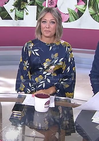 Dylan's navy floral balloon sleeve dress on Today