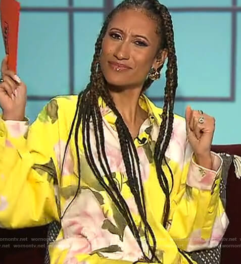 Elaine's yellow floral oversized blouse on The Talk