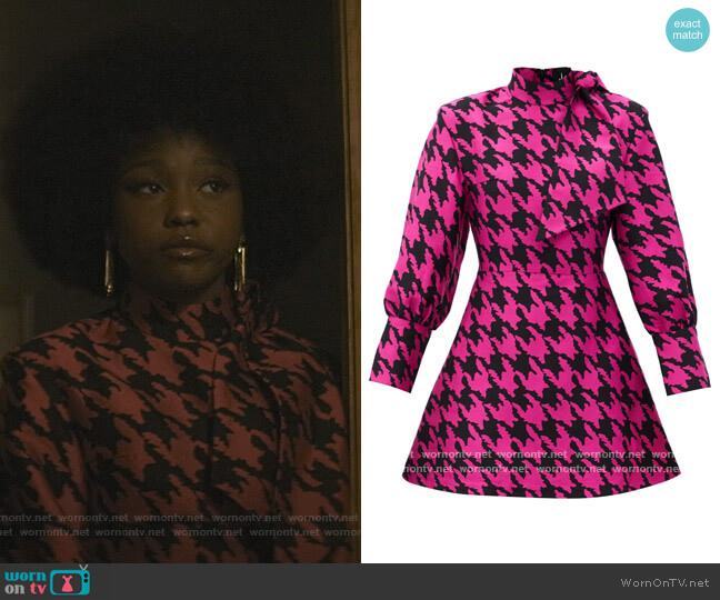 Neck-tie Houndstooth-jacquard mini dress by Elzinga worn by Judae'a Brown on The Chi