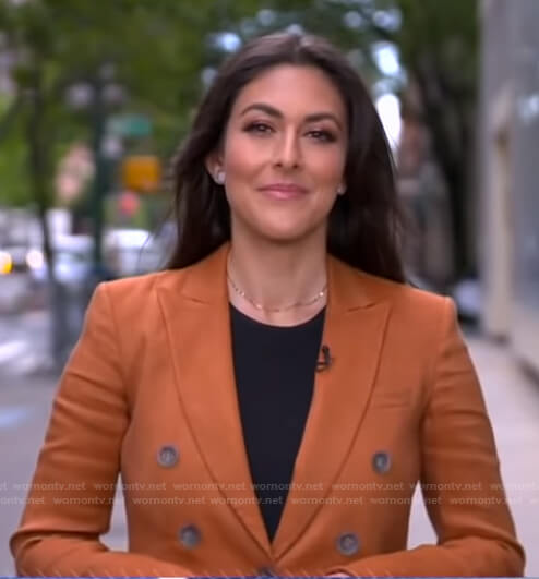 Erielle Reshef's orange double breasted blazer on Good Morning America