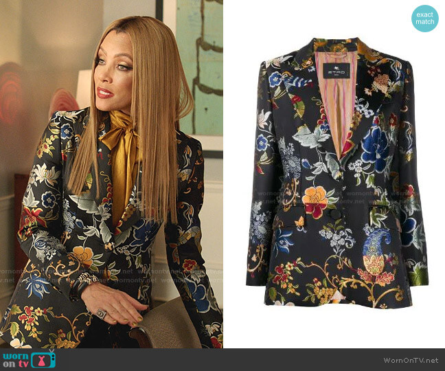 Patterned Single-Breasted Blazer by Etro worn by Dominique Deveraux (Michael Michele) on Dynasty