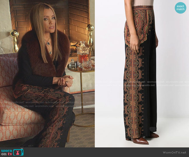 Floral Print Palazzo Trousers by Etro worn by Dominique Deveraux (Michael Michele) on Dynasty