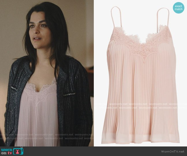 Pleated Lace Trim Cami by Express worn by Eve Harlow on Queen of the South