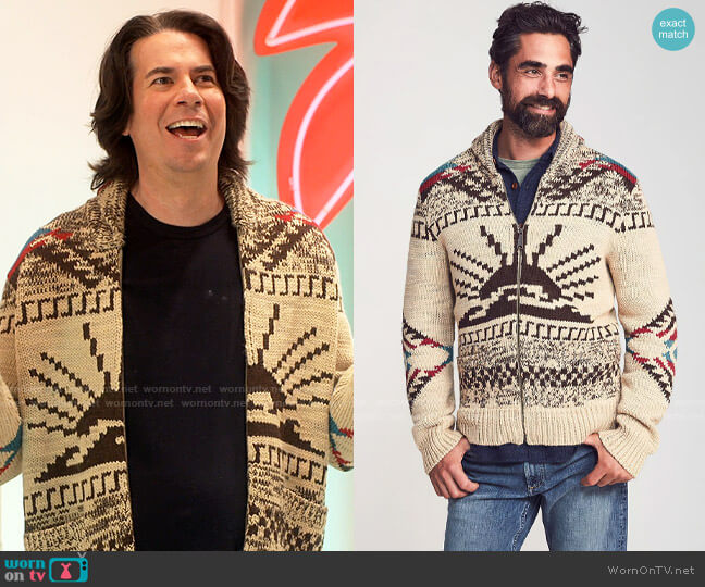 Faherty Sun and Wave Cardigan worn by Spencer Shay (Jerry Trainor) on iCarly
