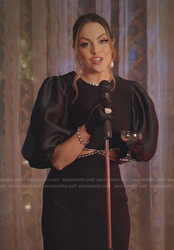 Fallon's black embellished cutout dress on Dynasty