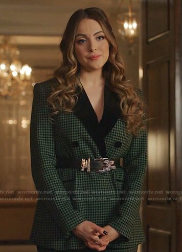 Fallon's green houndstooth blazer and pants on Dynasty