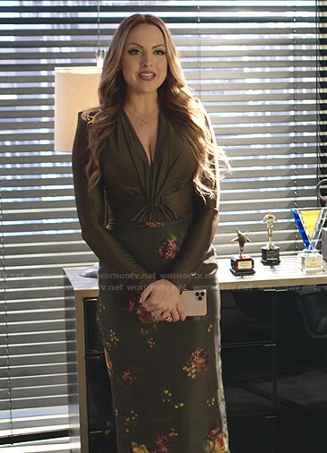 Fallon's green twisted top and floral skirt on Dynasty