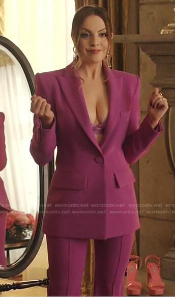 Fallon's purple blazer and pants on Dynasty