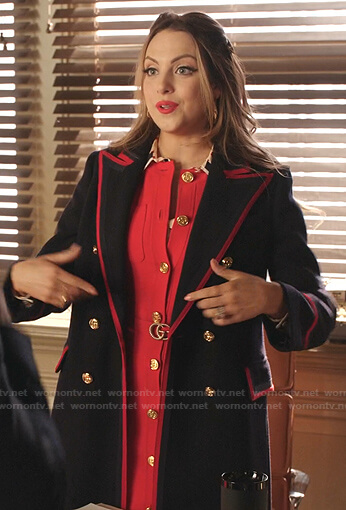 Fallon's red dress and navy contrast trim coat on Dynasty