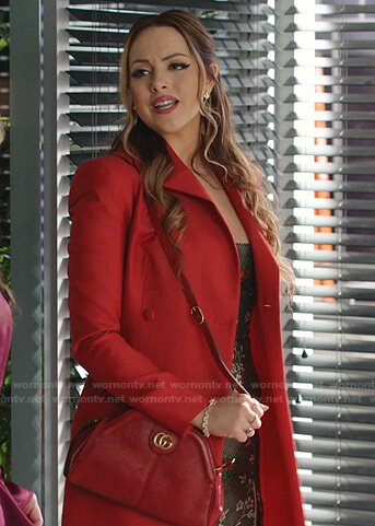 Fallon's red coat and GG shoulder bag on Dynasty