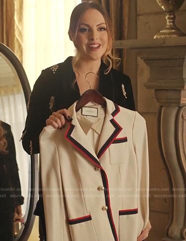 Fallon's white striped trim blazer on Dynasty