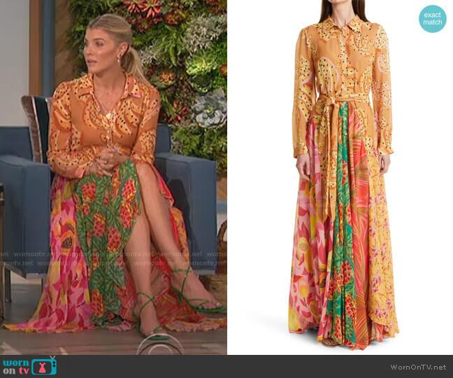 Mix Print Long Sleeve Shirtdress by Farm Rio worn by Amanda Kloots  on The Talk