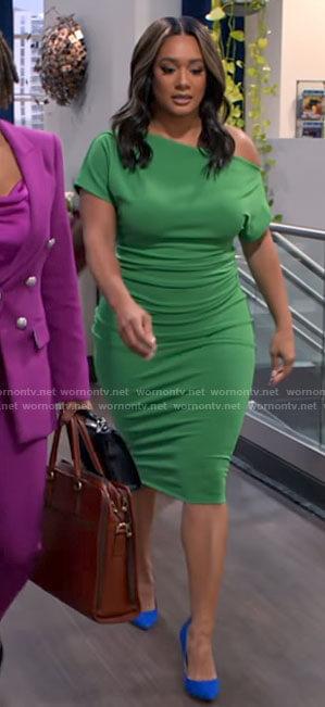 Fatima's green one shoulder dress on Tyler Perrys Sistas