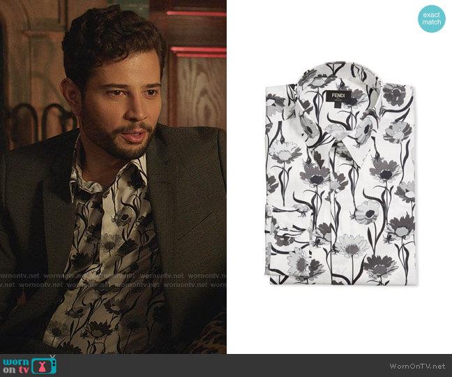 Floral Silk Twill Dress Shirt by Fendi worn by Sam Flores (Rafael de la Fuente) on Dynasty