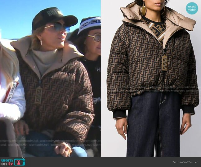 Logo Reversible Puffer Jacket by Fendi worn by Lisa Rinna  on The Real Housewives of Beverly Hills