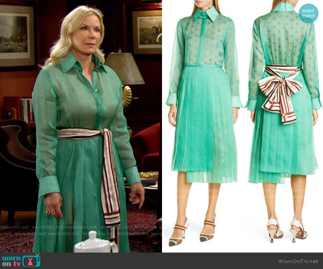 Fendi Feathered Organza Shirtdress with Pleated Skirt worn by Brooke Logan (Katherine Kelly Lang) on The Bold & the Beautiful
