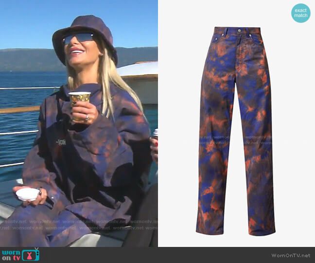 Tie-Dye Print Baggy Woven Trousers by Fenty worn by Dorit Kemsley  on The Real Housewives of Beverly Hills