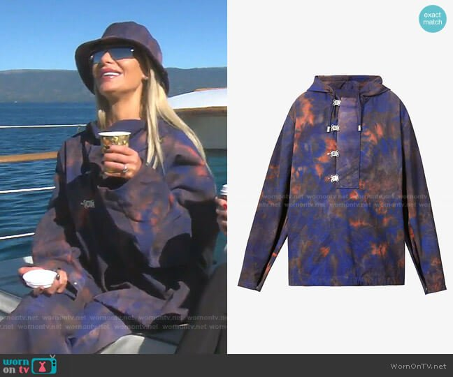 Tie-Dye Pattern Hooded Shell Jacket by Fenty worn by Dorit Kemsley  on The Real Housewives of Beverly Hills