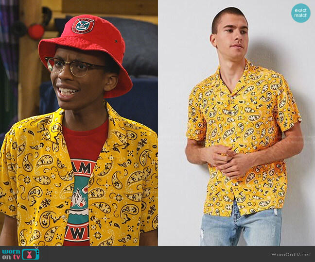 Classic Fit Paisley Print Shirt by Forever 21 worn by Noah Lambert (Israel Johnson) on Bunkd