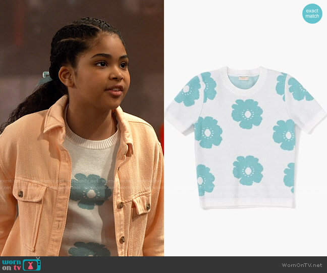Forever 21 Girls Floral Sweater-Knit Top worn by Millicent (Jaidyn Triplett) on iCarly