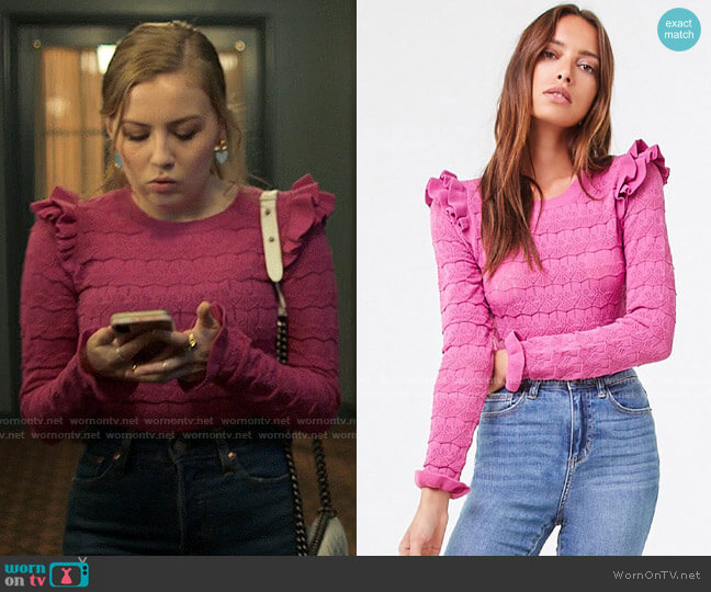 Forever 21 Ruffled Open-Knit Sweater worn by Lake Meriwether (Bebe Wood) on Love Victor