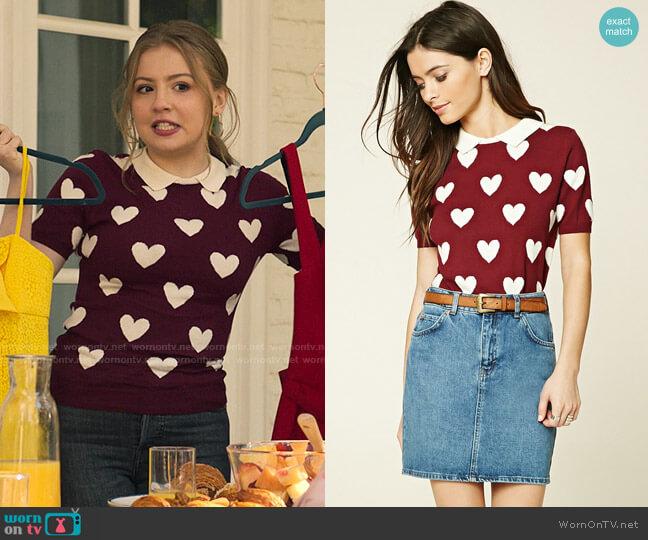 Forever 21 Heart Print Sweater Top worn by Lake Meriwether (Bebe Wood) on Love Victor