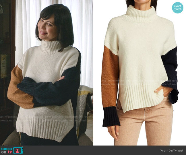Colorblocked Turtleneck Sweater by Frame worn by Cassandra Nightingale (Catherine Bell) on Good Witch