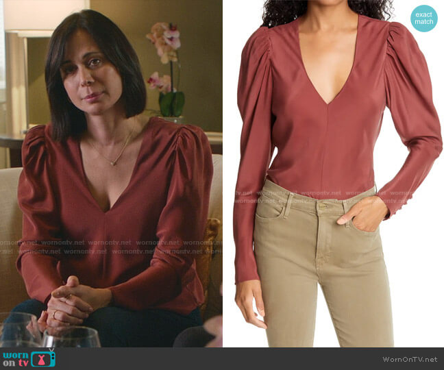 V-Neck Puff Shoulder Silk Top by Frame worn by Cassandra Nightingale (Catherine Bell) on Good Witch