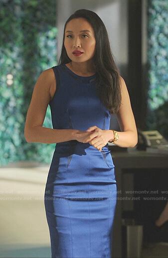 Francesca's blue and black colorblock sleeveless dress on Sex/Life