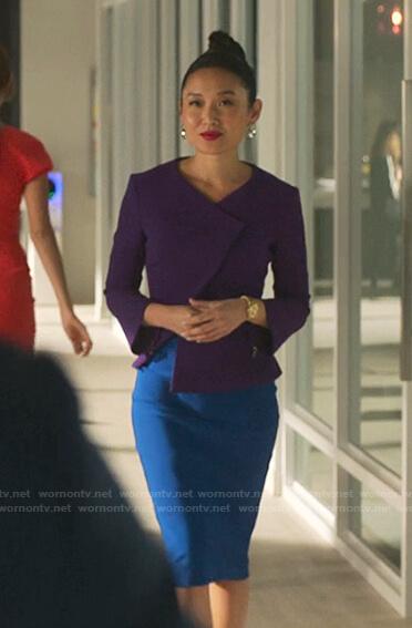 Francesca's purple jacket and blue pencil skirt on Sex/Life